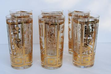 Culver glass tumblers w/ oriental design in gold, mid-century mod vintage drinking glasses