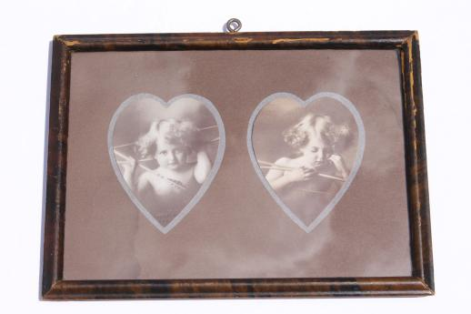 Cupid Awake & Cupid Asleep antique sepia photo print pictures in heart shape matted frame