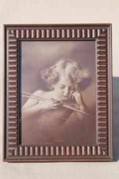 Cupid asleep antique sepia photo print in original wood frame, nude angel baby cherub