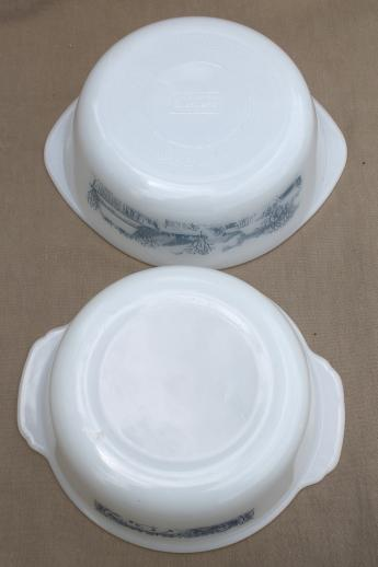 Currier & Ives print kitchen glass, vintage blue & white ovenware casseroles