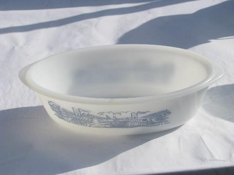 Currier & Ives steamboat scene, vintage blue & white Glasbake casserole