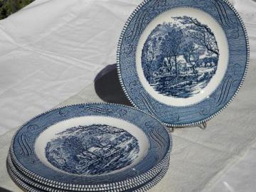 Currier & Ives vintage blue & white Royal china, 6 dinner plates