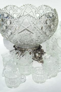 Daisy & Button pattern pressed glass punch set, big bowl w/ metal stand, punch cups