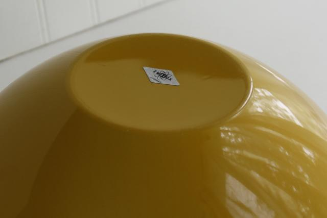 Danish mod vintage big yellow salad bowl, Scandinavian design enamelware