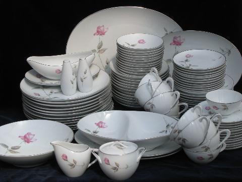 & Dawn Rose pink floral Japan china vintage dinnerware dishes set for 12