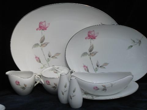 Dawn Rose pink floral Japan china vintage dinnerware dishes set for 12 & Rose pink floral Japan china vintage dinnerware dishes set for 12
