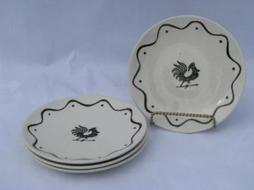 Daybreak vintage Royal china bread & butter plates, black rooster