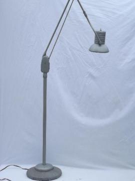 Dazor floating fixture work light, vintage industrial floor lamp