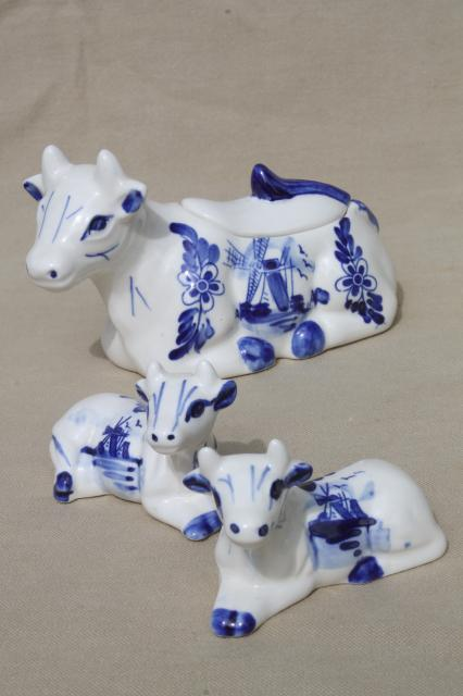 Delft Blue Amp White China Cows Table Set Cow Jam Pot Salt And Pepper Shakers