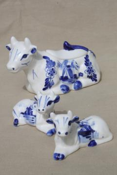 Delft blue & white china cows table set, cow jam pot, salt and pepper shakers