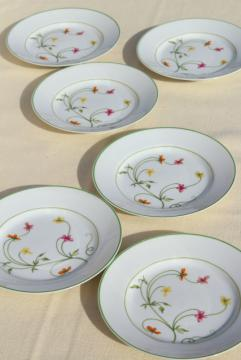 Denby Duchess china, 70s vintage Portugal pottery bread & butter plates set of six