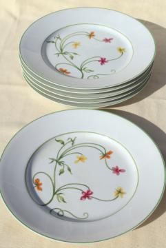 Denby Duchess china, 70s vintage Portugal pottery dinner plates set of six