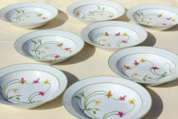 Denby Duchess china, 70s vintage Portugal pottery soup bowls, set of 8