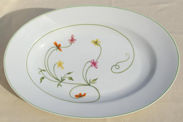 Denby Duchess china serving platter, 70s vintage floral print pattern