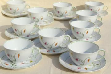 Denby Duchess china tea cups & saucers set for 10, 70s vintage Portugal pottery