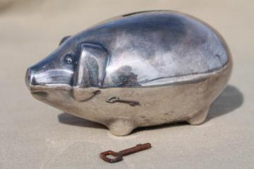 Denmark silver piggy bank, shabby vintage silver plated coin bank pig