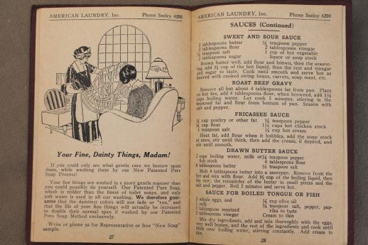 Depression era cook book w/ 1930s vintage advertising for American Laundry - Chicago