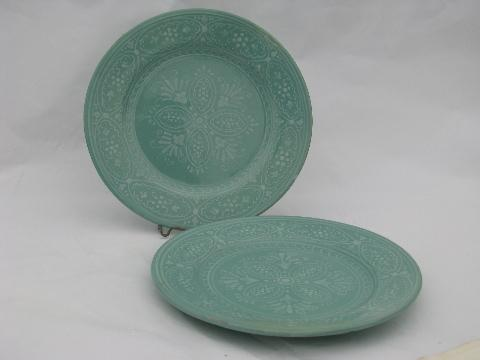 Deruta pottery - Italy vintage Italian ceramic plates jadite green w/ white lace & Deruta pottery - Italy vintage Italian ceramic plates jadite green ...