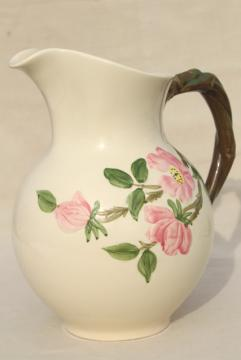 Desert Rose Franciscan pottery, large china pitcher vintage USA backstamp