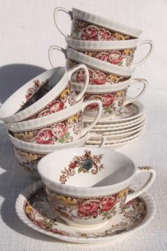 Devonshire Johnson Brothers china, vintage transferware cups & saucer set for 8