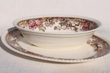 Devonshire Johnson Brothers china, vintage transferware platter & oval serving dish
