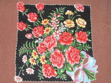 Die-cut hankie, bow & roses