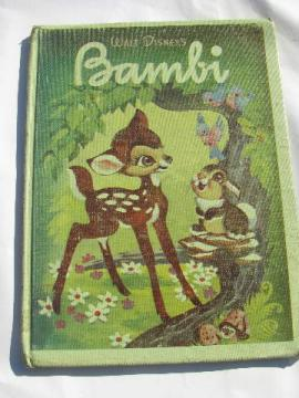 Disney's Bambi vintage Golden Press picture book, 40s copyright illustrations