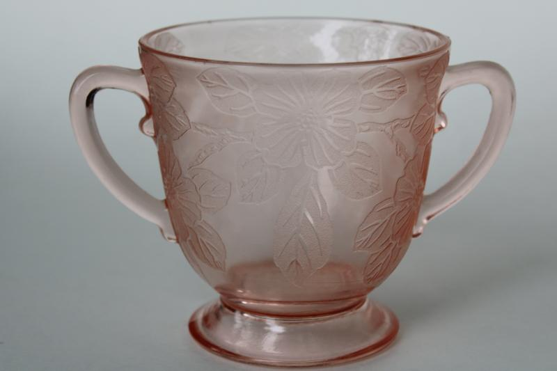 Dogwood pattern pink depression glass cream pitcher & sugar bowl vintage Macbeth Evans