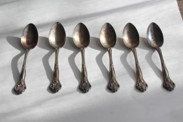 Dolly Madison open rose pattern teaspoons, vintage silverware Holmes & Edwards