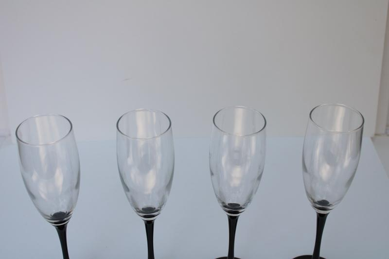 Domino black stem tall champagne flutes, vintage Cristal d'Arques French crystal glasses