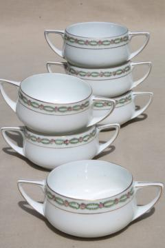Donatello Rosenthal china cream soups or boullion cups, double handled bowls