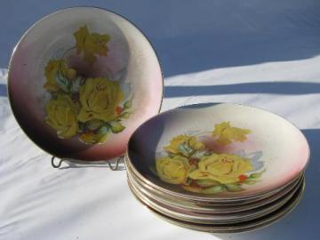 Dresden china antique vintage hand-painted porcelain plates, yellow roses