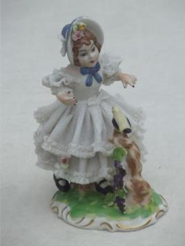 Dresden lace china  girl figurine, antique Germany crossed swords mark
