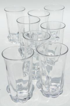 Duncan & Miller Canterbury crystal clear heavy glass tumblers, vintage highball glasses