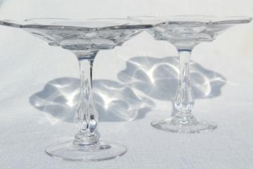 Duncan & Miller Canterbury pattern compote pedestal bowls, crystal clear vintage elegant glass