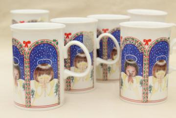 Dunoon - Scotland, Scottish ceramic Christmas mugs w/ angel girls, 1990s vintage