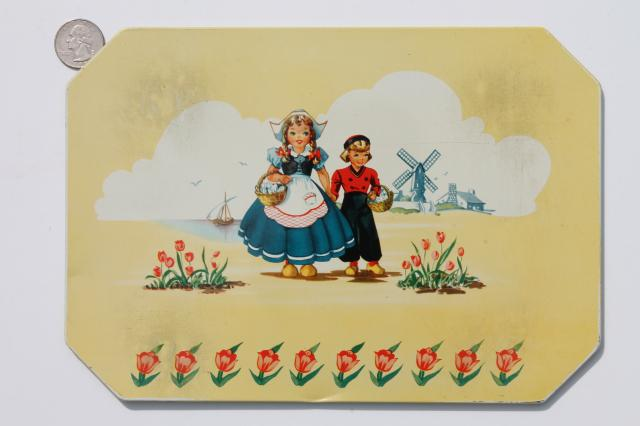 Dutch boy & girl Holland windmills 1950s vintage hot mat pad counter saver trivets