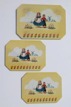 Dutch boy & girl Holland windmills 1950s vintage hot mat pad counter saver trivets