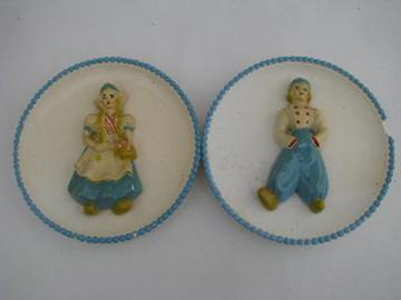 Dutch children boy & girl vintage chalkwae kitchen wall plaques