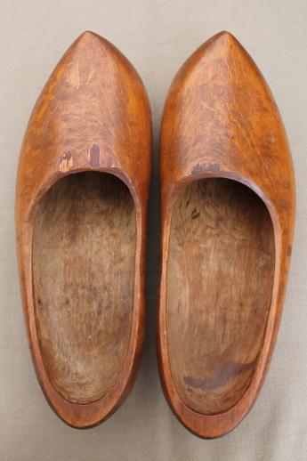 Dutch Klompen Wood Shoes Adult Size Vintage Wooden Clogs