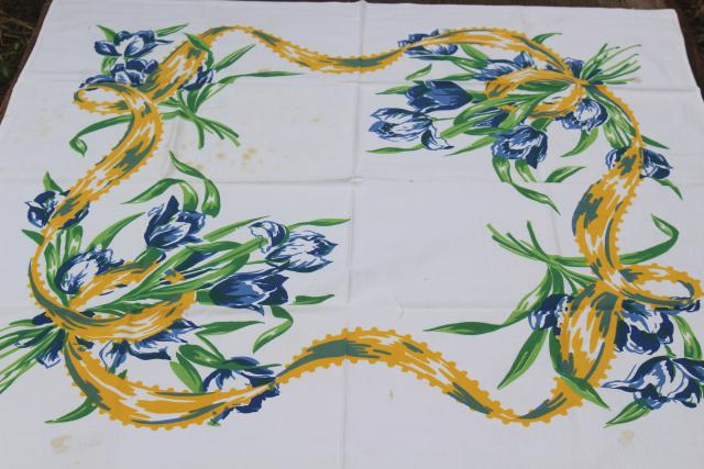 Dutch tulips print vintage cotton tablecloth, Swedish country blue & yellow