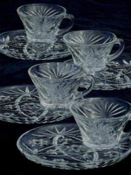 EAPC star pattern snack sets w/ small round plates, vintage prescut glass