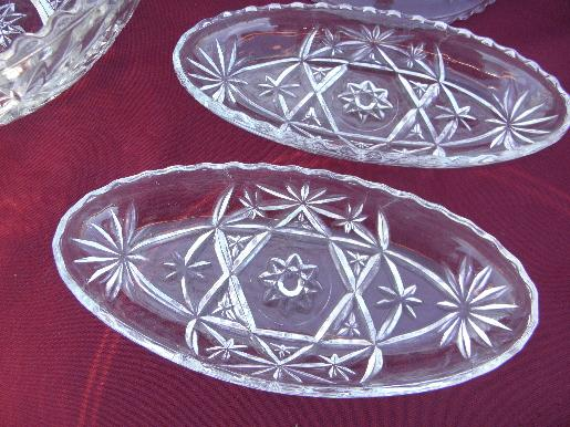 Eapc Vintage Pres Cut Glass Serving Dishes Early American