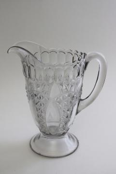 EAPG Oregon pattern pressed pattern glass pitcher, 1890s vintage antique glassware