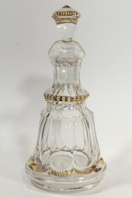 EAPG antique cruet 1890s Riverside glass Empress pattern w/ gold decoration