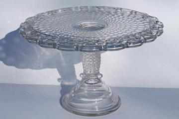 EAPG antique glass cake stand, Thousand Eye bubble pattern glass cake pedestal plate