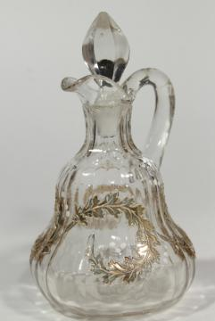 EAPG antique glass cruet, fern or oak leaf garland gold scroll, circa 1900