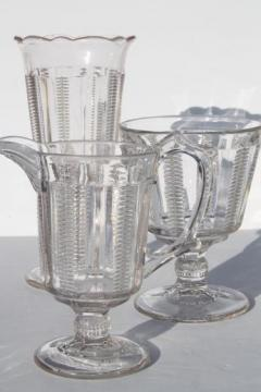 EAPG antique glass spooner, pitcher & open sugar, zipper / file pattern glass table set