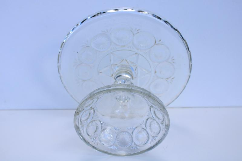 EAPG antique pressed glass cake stand, Cambridge Star of David pattern glass