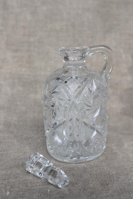 EAPG antique pressed glass cruets, collection of pitchers all different patterns